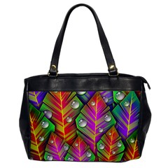Abstract Background Colorful Leaves Office Handbags