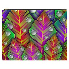 Abstract Background Colorful Leaves Cosmetic Bag (xxxl)