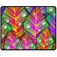 Abstract Background Colorful Leaves Double Sided Fleece Blanket (medium)