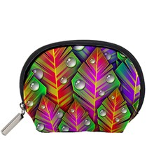 Abstract Background Colorful Leaves Accessory Pouches (small)