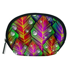 Abstract Background Colorful Leaves Accessory Pouches (medium)