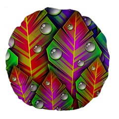 Abstract Background Colorful Leaves Large 18  Premium Flano Round Cushions