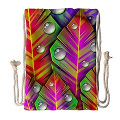 Abstract Background Colorful Leaves Drawstring Bag (large)