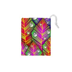 Abstract Background Colorful Leaves Drawstring Pouches (xs)