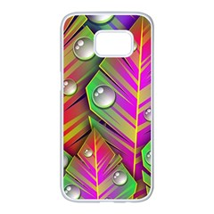Abstract Background Colorful Leaves Samsung Galaxy S7 Edge White Seamless Case