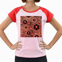 Background Floral Flower Stylised Women s Cap Sleeve T Shirt