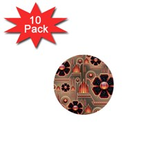 Background Floral Flower Stylised 1  Mini Buttons (10 Pack)