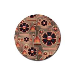 Background Floral Flower Stylised Rubber Round Coaster (4 Pack)
