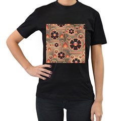 Background Floral Flower Stylised Women s T Shirt (black) (two Sided)