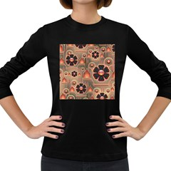 Background Floral Flower Stylised Women s Long Sleeve Dark T Shirts