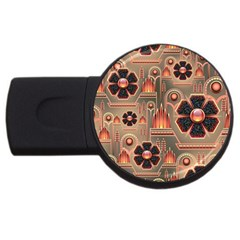 Background Floral Flower Stylised Usb Flash Drive Round (4 Gb)