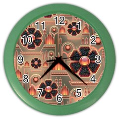 Background Floral Flower Stylised Color Wall Clocks