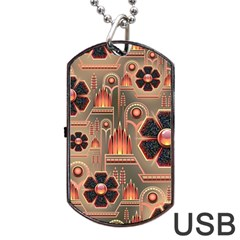 Background Floral Flower Stylised Dog Tag Usb Flash (one Side)