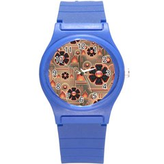 Background Floral Flower Stylised Round Plastic Sport Watch (s)