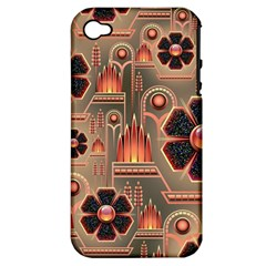 Background Floral Flower Stylised Apple Iphone 4/4s Hardshell Case (pc+silicone)