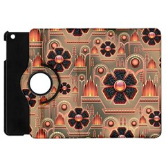 Background Floral Flower Stylised Apple Ipad Mini Flip 360 Case