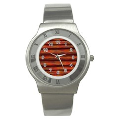 Colorful Abstract Background Strands Stainless Steel Watch