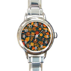 Pattern Background Ethnic Tribal Round Italian Charm Watch