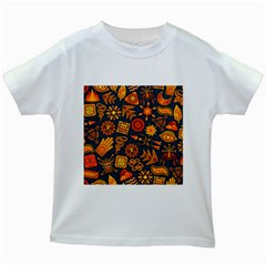 Pattern Background Ethnic Tribal Kids White T Shirts