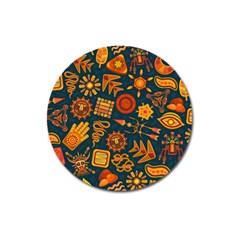Pattern Background Ethnic Tribal Magnet 3  (round)