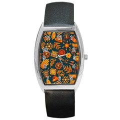 Pattern Background Ethnic Tribal Barrel Style Metal Watch by Nexatart