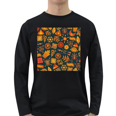 Pattern Background Ethnic Tribal Long Sleeve Dark T Shirts