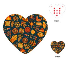 Pattern Background Ethnic Tribal Playing Cards (heart)