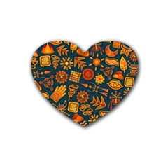 Pattern Background Ethnic Tribal Rubber Coaster (heart)  by Nexatart