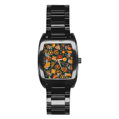 Pattern Background Ethnic Tribal Stainless Steel Barrel Watch