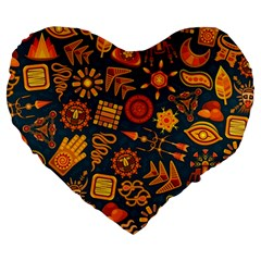 Pattern Background Ethnic Tribal Large 19  Premium Flano Heart Shape Cushions