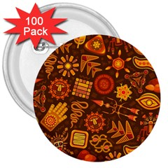 Pattern Background Ethnic Tribal 3  Buttons (100 Pack)  by Nexatart
