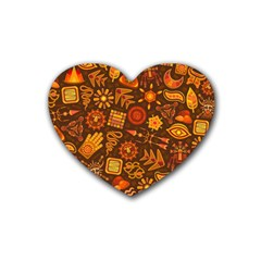 Pattern Background Ethnic Tribal Rubber Coaster (heart)