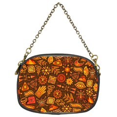Pattern Background Ethnic Tribal Chain Purses (two Sides)