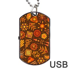 Pattern Background Ethnic Tribal Dog Tag Usb Flash (two Sides)