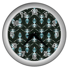 Seamless Pattern Background Wall Clocks (silver)