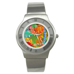 Background Colorful Abstract Stainless Steel Watch