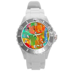 Background Colorful Abstract Round Plastic Sport Watch (l)