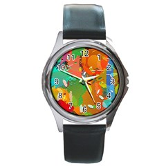 Background Colorful Abstract Round Metal Watch