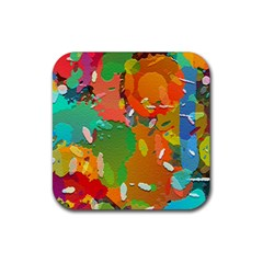 Background Colorful Abstract Rubber Square Coaster (4 Pack)
