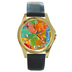 Background Colorful Abstract Round Gold Metal Watch