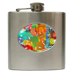 Background Colorful Abstract Hip Flask (6 Oz)