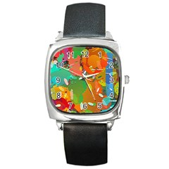 Background Colorful Abstract Square Metal Watch