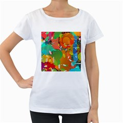 Background Colorful Abstract Women s Loose Fit T Shirt (white)