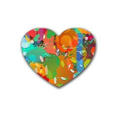 Background Colorful Abstract Rubber Coaster (heart)
