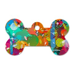 Background Colorful Abstract Dog Tag Bone (one Side)