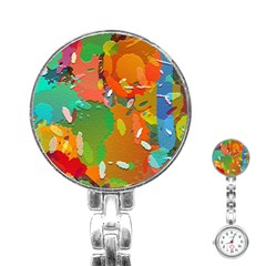 Background Colorful Abstract Stainless Steel Nurses Watch