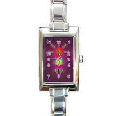 Abstract Bright Colorful Background Rectangle Italian Charm Watch