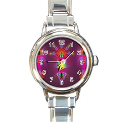 Abstract Bright Colorful Background Round Italian Charm Watch