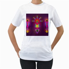 Abstract Bright Colorful Background Women s T Shirt (white) (two Sided)