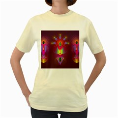 Abstract Bright Colorful Background Women s Yellow T Shirt